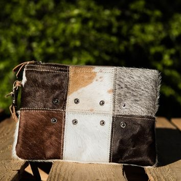 Button Hair On Small Bag - Multi Brown