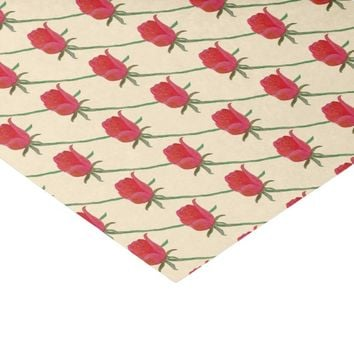 Red Rose Long Stem Watercolor Print Tissue Paper