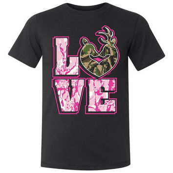 LOVE CAMO DEER Couple Buck & Doe Screen Print T Shirt Camouflage Country Tee