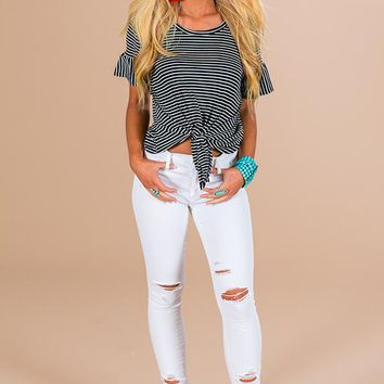 Striped Haven Shift Top In Navy