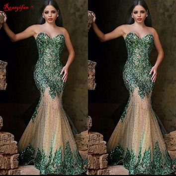 2017 Sexy Emerald Green Sequin Mermaid Prom Dresses Long Cheap Illusion Sleeveless Evening Dress Party Gowns Vestido De Festa