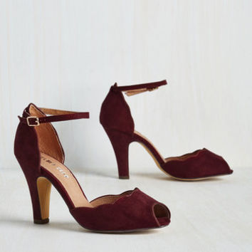 Pinup Scallop Your Alley Heel in Maroon