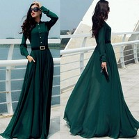 Vintage Elegant Casual Lady Long Button Party Cocktail Maxi Shirt Dress