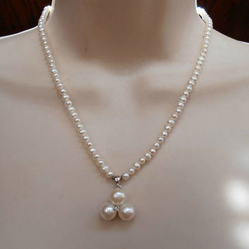 Sterling Pearl Necklace, Diamond CZ Lavalier Drop, Bridal Wedding Jewelry