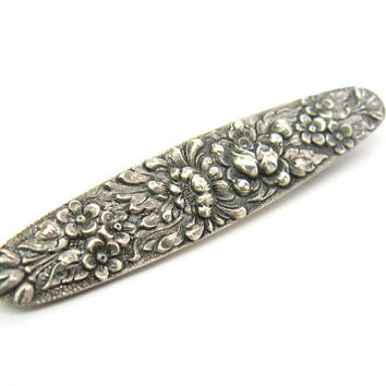 Stieff Floral Brooch. Sterling Silver Embossed Chrysanthemum Rose & Forget Me Not Flower Bar Pin. Vintage 1920s American Hand Chased Jewelry