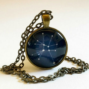Cancer Constellation /Glass Necklace / Pendant / Zodiac Sign / July Birthday / Cancer the Crab / Star Sign /Astrology / Jewelry / Key Ring