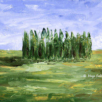 Cipressi della Val d'Orcia, Tuscany, Italy; original oil painting on canvas board, 7x10 inches