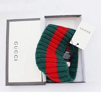 GUCCI Red Green Stripe Knit Wool Web Sport Headband I