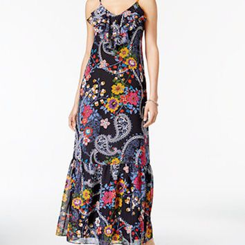 New ECI Women's V-Neck Spaghetti Strap Multi Floral-Printed Ruffled Maxi Dress M