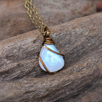 Rainbow Moonstone Necklace - Wire Wrapped Stone Jewelry - Natural Moonstone Jewelry - Blue Flash - Gemstone Necklace - Gypsy Boho Jewelry