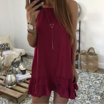 Halter Neck Ruffle Hem Loose Dress  B0015172