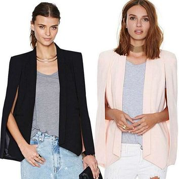 Lady Women's Casual Lapel Split Long Sleeve Blazer Cape Coat OL Suit Jacket USA