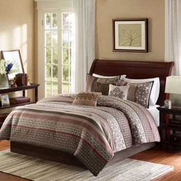 Madison Park Princeton 7-Piece Comforter Set in Red