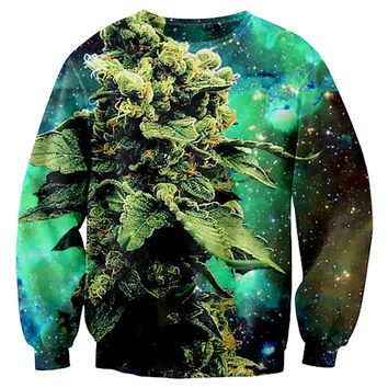 New fashion autumn Galactic Weed space galaxy Crewneck sweatshirt 3d print women/men pullover hoodie Drop ship