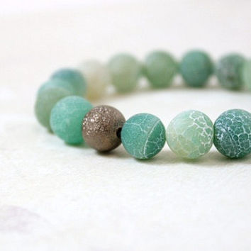 Gunmetal and Green Crackle Agate Beaded Stretch Bracelet - Natural Stone Matte Green Agate Jewelry - Boho Beach Style - Ready to Ship