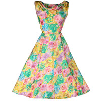 Vintage 1950's Henri Bendel Pastel Silk Floral Dress