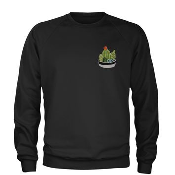 Embroidered Cactus Succulents Patch (Pocket Print) Adult Crewneck Sweatshirt