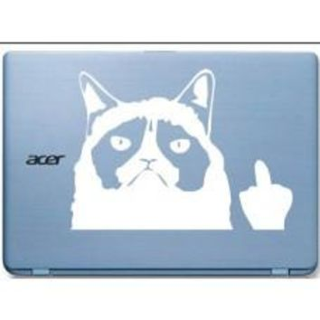 Grumpy Cat middle finger Automobile Car Window Decal Tablet Decal Tablet PC Sticker Automobile Window Wall Laptop mobile Computer Notebook
