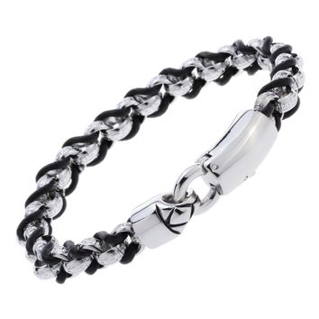 Mens stainless steel black leather link chain bracelet gold silver color jewelry birthday gifts for dad him boyfriend D003