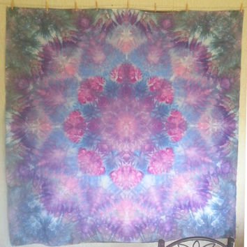 Giant mandala tie dye tapestry or wall hanging in purple, pink, and blue