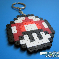 Nintendo Super Mario Bros. Red Mushroom Bead Sprite Key Chain