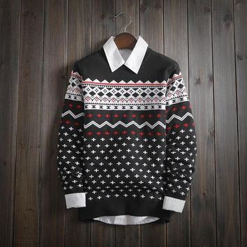 mens ethnic geometric boho warm sweater slim fit 2