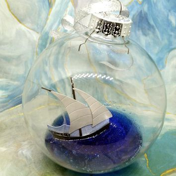 Boat Ornament, Sailor Gifts, Nautical Christmas, Boat Lovers Gift, Nautical Ornament,Beach Themed Ocean Gifts
