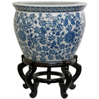 Oriental Furniture BW-14FISH-BWFL 14 Inch Porcelain Fishbowl Blue and White Floral