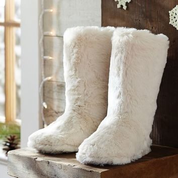 Faux Fur Booties - Polar Bear