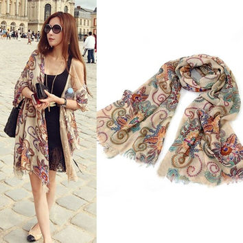 Fashion Womens Totem Retro Bohemia Floral Print Silk Scarf Noble Shawl Ladies Long Scarves = 1958197572