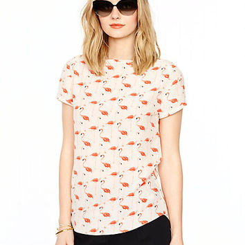 Kate Spade Flamingo Boatneck Top Shell Pink