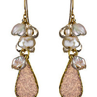 Mickey Lynn Teardrop Druzy Cluster Earrings - Max and Chloe