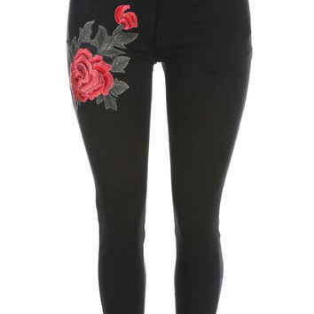Salt Tree Women's Machine Jean 3D Floral Embroidered Skinny Jeans, US Seller