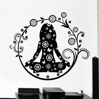 Vinyl Wall Decal Yoga Center Lotus Pose Woman Flowers Stickers Unique Gift (804ig)
