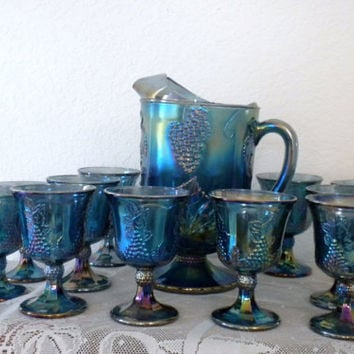 Vintage, Indiana Carnival Glass Pitcher and 12 Goblets, Harvest Blue