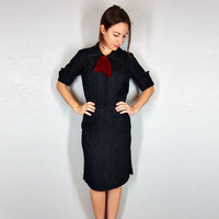 Little Black Dress 1940s edition, Medium Small XS, Black with Silver lurex and red velvet bow and pockets