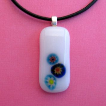 White Necklace, Simple Pendant, Floral Pendant, Simple Jewelry, Etsy Jewelry - One of a Kind - Silk Flowers - 2815 -2