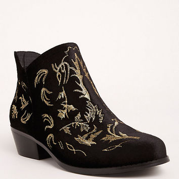 Lurex Embroidered Ankle Booties (Wide Width)