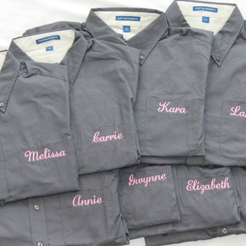 15 Wedding Shirts Personalized Custom Embroidery Pink and Grey Oxford Getting Ready Shirt Wedding Party Gift
