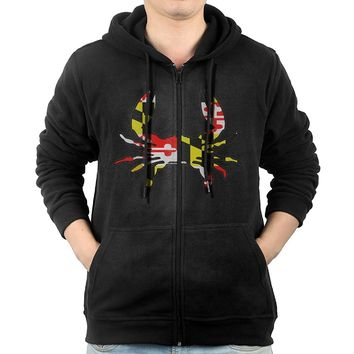 TWOCI-11 Maryland Flag Crab Men's Zip Hoodie,Long Sleeve Pocket Coat Outerwear For Man