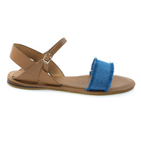 Bliss19M Blue Denim By Bamboo,  Flat Sandal w Torn Frail / Fringe Canvas Jean Vamp, Ankle Strap