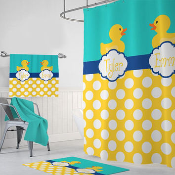 Duck SHOWER CURTAIN, Duck Bathroom Decor, Monogram Personalized Rubber Duckie Bathroom Brother Sister Shared Bathroom Bath Towel Bath Mat