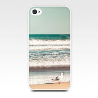 iphone 4 case 4s iphone 5 beach photography ocean photo birds seagulls cover cell phone case nautical accessories mint green teal summer