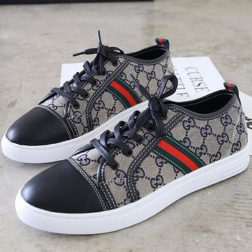 GUCCI 2018 new wild men and women personality low cut lace-up shoes F0766-1 blue