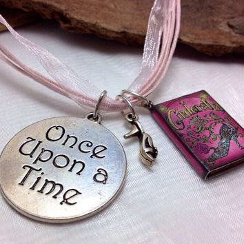 Cinderella Book Slipper Once Upon a Time Necklace
