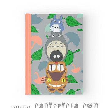 Totoro My Neighbor Journal Ghibli Notebook Studio Catbus Soot Sprite Blue Forest Sketchbook Woodland Fandom Paper Book Graph Lined Blank Art