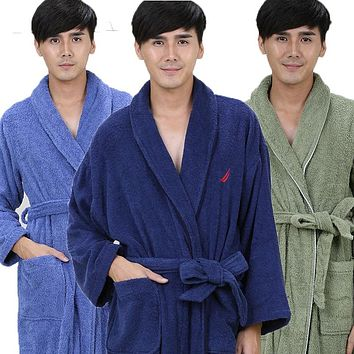 Cotton bathrobe men nightgown women sleepwear bathrobe blanket towel thickening lovers long soft autumn winter