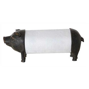 Creative Co-op Metal & Resin Pig Paper Towel Holder