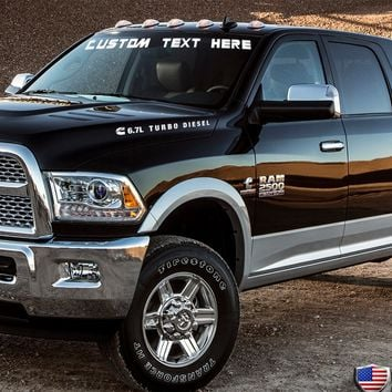 Custom Text Windshield Banner Vinyl Decal-Fits Dodge Ram 1500 2500 3500 Cummins