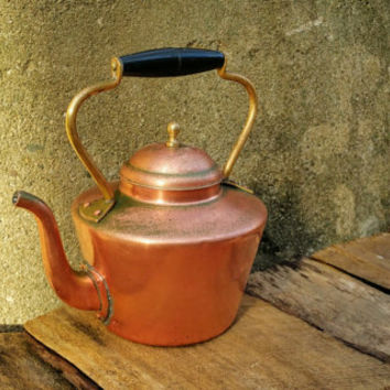 Vintage Copper Tea Kettle Brass Handle